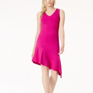 Bar III Women's Pink Magenta Flame Ruffle Dress